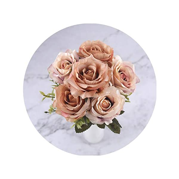 6 Heads White Rose Artificial Flowers Silk for Wedding Decoration Winter Fake Big Flowers Red for Home Decor Autumn