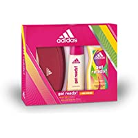 Adidas Get Ready Set para Mujer, Contiene: Neceser Adidas + Get Ready! Eau de Toilette 50 ml + Get Ready! Body Hair Face 3 in 1 Shower Gel 250 ml