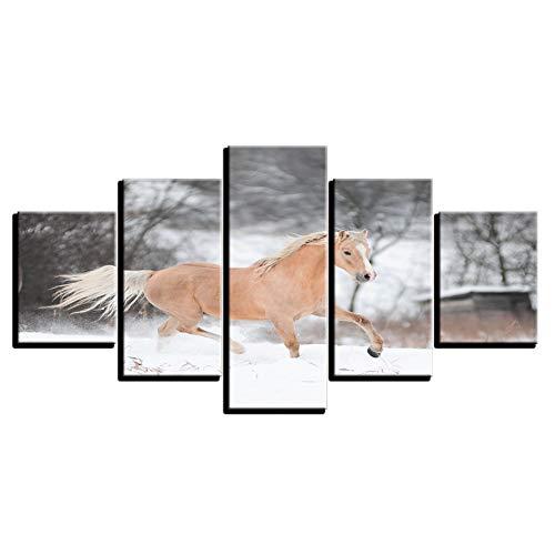 WHFDH Canvas Hd Foto Poster Woonkamer muurkunst 5 stuks paarden lopen in sneeuw schilderij dier beeld wooncultuur 40x60 40x80 40x100cm No Frame