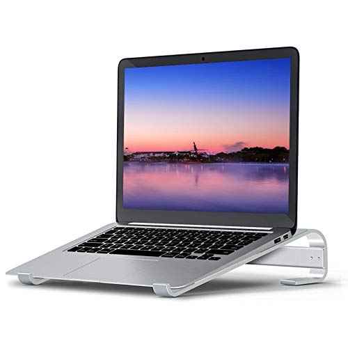 Laptop Stand for Desk, Laptop Lift Ergonomic Aluminum Computer Stand, Adjustable Laptop Riser Ventilated Portable Laptop Holder, Compatible with 10-15.6 Inches Notebook Stand – Silver