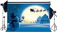 新しいメリークリスマス背景7X5FTビニール冬の雪の背景雪だるまサンタクロースに乗る重い雪のワンダーランドムーンナイトクリスマス写真の背景の新年の写真スタジオの小道具HXM154
