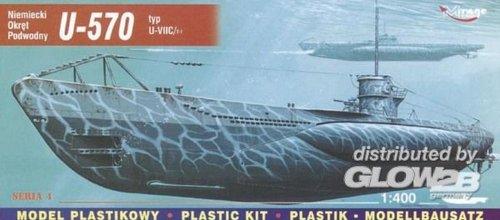 Mirage Hobby 40411, 1: 400 échelle, U-570 U-typ VIIC Turm je sous-marin allemand, kit de modèle en plastique