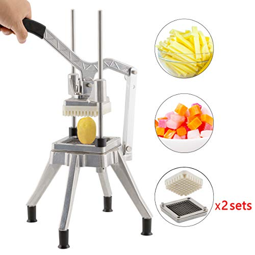 Tuntrol Commercial Second Generation Vegetable Dicer 0.25 And 0.38 inches Blade Quick Slicer Machine Stainless Steel Easy Chopper Dicer for Onion Tomato Pepper Potato Mushrooms