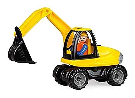 Lena 01621 - Truckies Bagger, stabiles Baustellen Fahrzeug ca. 25 cm, kleines Spielfahrzeug Schaufelbagger für Kinder ab 2 Jahre, robustes Baggerfahrzeug für Sandkasten, Strand und Kinderzimmer