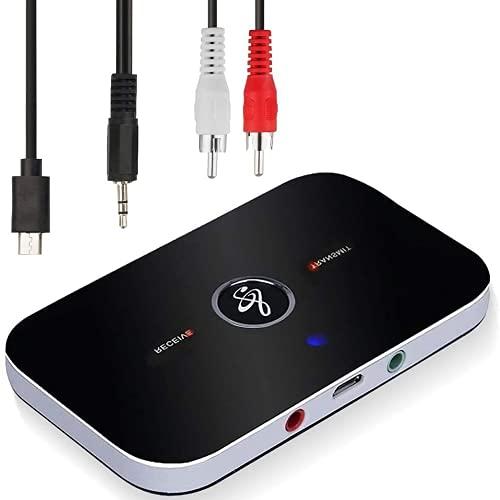 Adaptateur Bluetooth Récepteur,Ozvavzk Bluetooth Émetteur Récepteur 5.0 Transmetteur Récepteur Bluetooth Audio 2 en 1 avec Sortie Audio 3,5mm Adaptateur/Convertisseur Bluetooth Audio RCA