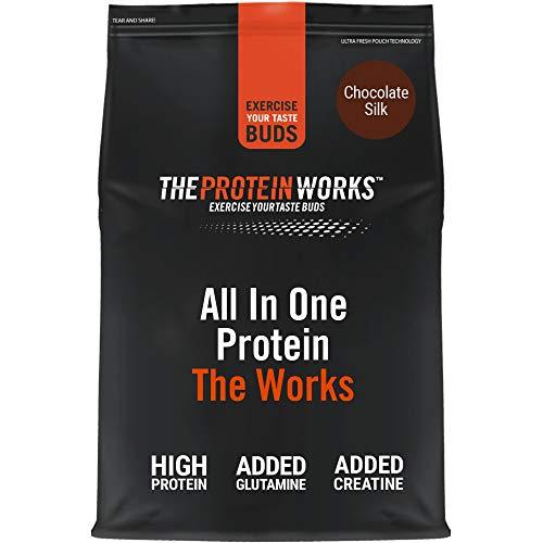 THE PROTEIN WORKS All In One Protein Powder | Complete Protein Shake | With Glutamine & Creatine | Chocolate Silk | 2 Kg
