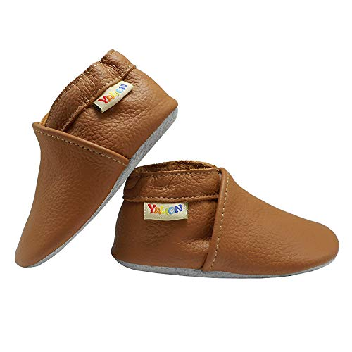 """YALION Baby Boys Girls Shoes Crawling Slipper Toddler Infant Soft Leather First Walking Moccasins (APPR.12-18 Mos/5.5"""" Sole, Orange-Brown)"""