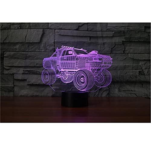 Lámpara de noche 3D Cambio de iluminación de coche creativo Lámpara de decoración del hogar de escritorio de mesa Led 7 colores Vehículo todoterreno Flash Luz de sueño