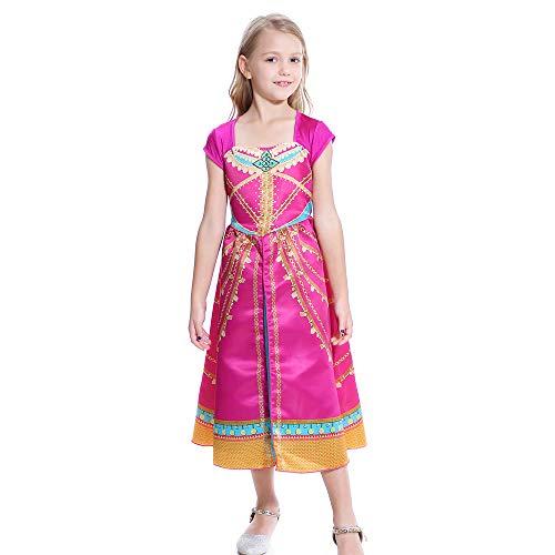 Lito Angels Disfraz de Princesa Jazmín para Niña Vestido de Jazmin de Halloween Fiesta de Cumpleaños Carnaval Talla 5 a 6 Años Rosa 254