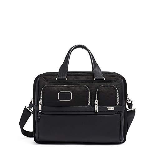 TUMI - Alpha 3 Expandable Organizer Laptop Brief Briefcase - 15 Inch Computer Bag for Men and Women - Black Chrome