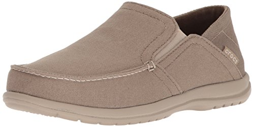 Crocs Men's Santa Cruz Convertible Slip On Loafer Casual Shoes, Khaki/Cobblestone, 11 M US