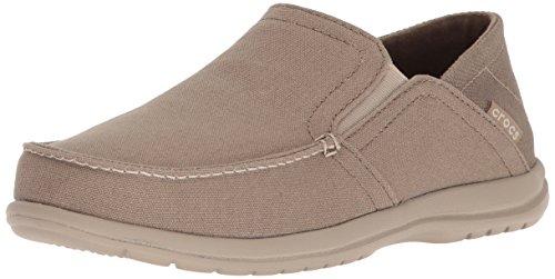 Crocs Men's Santa Cruz Convertible Slip On Loafer Casual Shoes, Khaki/Cobblestone, 13 M US