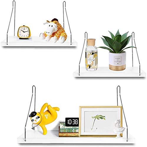 3Pollas blancas estantes flotantes montados en la pared, estantes de almacenamiento pantallas de exhibición Decoración para el hogar Pared colgante Estantes flotantes