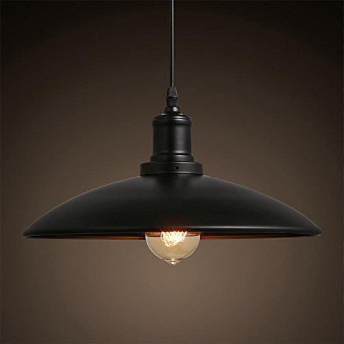 Vintage rétro lampe pendentif éclairage Creative style de personnalité Loft Suspension en métal noir lampe ronde design minimaliste moderne Edison ampoule haute réglable