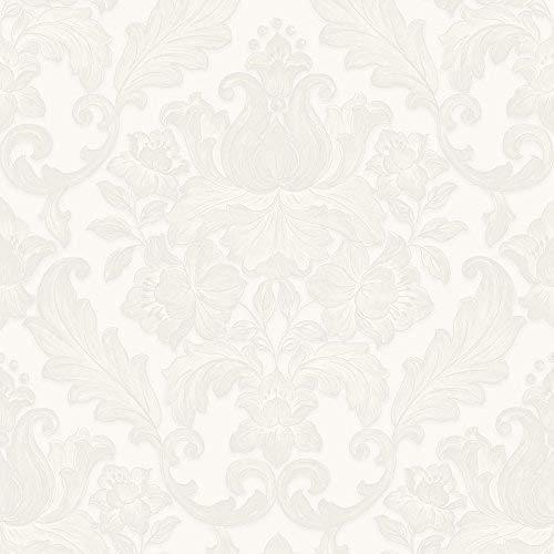 Sirpi Italienischer Damask Muster Tapete Metallisch Blumen Blätter Schwer - Weiß 20572