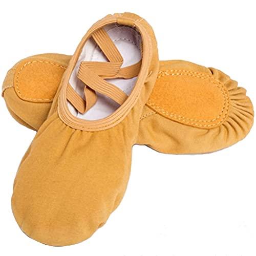 PINGZG Zapatillas de Baile de Lienzo de Ballet, Zapatillas de Ballet para Mujer Pilates Zapatos de Yoga Gimnasia división, Adultos, niñas y Damas (Color : Camel, Size : 38 EU)