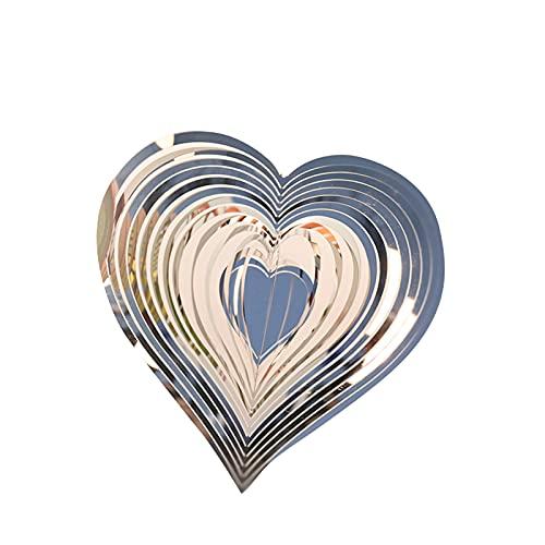 Spinner de viento de corazón batido, acero inoxidable 3D corte láser metal arte corazón patrón colgante viento Spinners corazón viento exterior metal (plata)