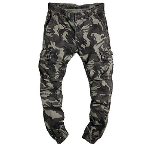 Katenyl Pantalones Cargo con Estampado de Camuflaje para Hombre, Ropa de Calle a la Moda, Pantalones Holgados con Bolsillo de Cintura Media y Bolsillos con Botones y Tapeta 36