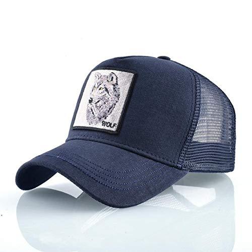 Gorras de béisbol de Moda Hombres Mujeres Snapback Hip Hop Sombrero Verano Malla Transpirable Sun Gorras Unisex Streetwear-Blue Wolf Head