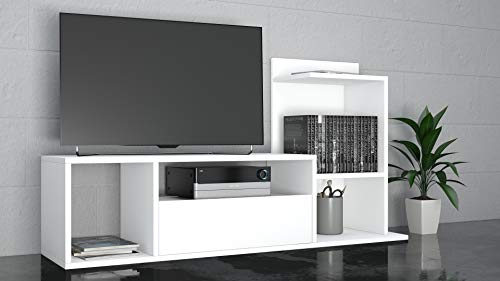 THETA DESIGN by Homemania Sumatra - Mobile TV, Bianco, 120x 30 x 65 cm