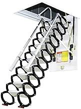 Metal Retractable Ladder for Loft Home Folding Step Ladder Attic pulldown Ladder Hinge 5ft-11ft (Hole 2.29ft3.60ft,Height 9.84ft)