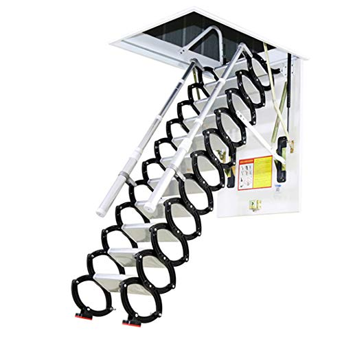 Metal Retractable Ladder for Loft Home Folding Step Ladder Attic pulldown Ladder Hinge 5ft-11ft (Hole 2.29ft3.60ft,Height 9.84ft)