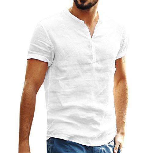 Camisa Lino Hombre Casua SHOBDW 2019 Nuevo Camisetas Hombre Manga Corta Baratas Color Sólido Tops Cuello Pico Slim Fit Blusas Hombre Verano(Blanco,M)
