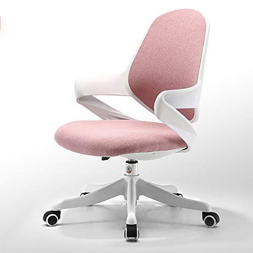 Silla de oficina Silla de escritorio ergonómica con soporte lumbar, respaldo y reposabrazos de malla transpirable, silla de computadora ajustable en altura con mecedora,Rosado