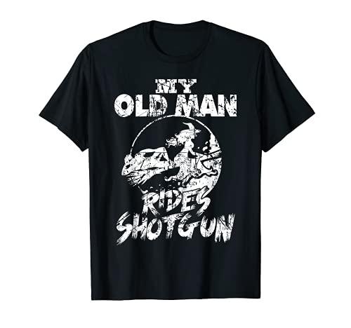 Il mio vecchio uomo cavalca Fucile Halloween Distressed Maglietta