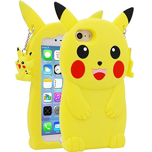for iPhone 7 8 SE 2 SE 2020 Pikachu Case Kids Boys Girls Teens Women (4.7 inches),Beautiful 3D Cartoon Cute Funny Kawaii Yellow Pikachu Soft Silicone Phone Cover Case for iPhone 7/8 / SE 2 / SE 2020