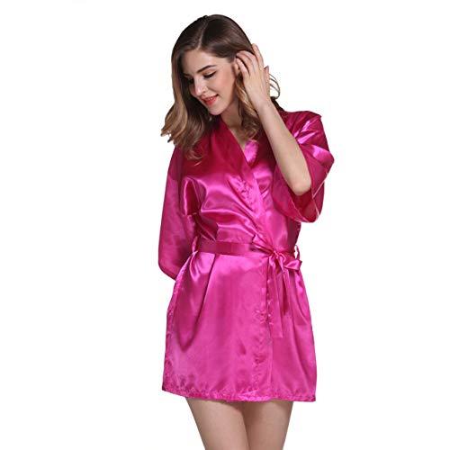 Damen Morgenmantel Kimono im Edler Satin Kurz Robe Bademantel Nachtwäsche Sleepwear V Ausschnitt mit Gürtel (Rosa, M)