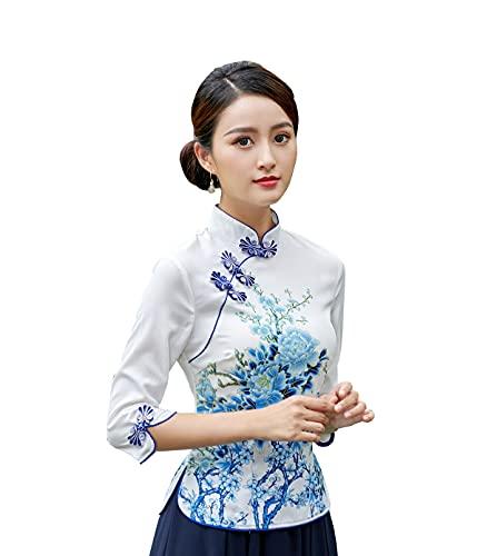 YueLian Lotusblüte, Mandarinenkragen, chinesisches Tang-Shirt, Qipao-Oberteile, traditionelle Bluse für Damen Gr. 36, weiß