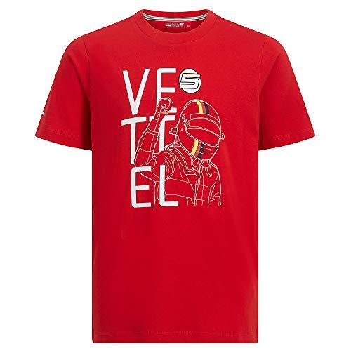 Offizielle Formula 1 Merchandise - Ferrari - Driver Tee - Vettel -Kids - 104 - Rot