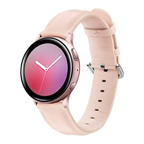 Correa Compatible con Samsung Galaxy Watch Active 2/Galaxy Watch 42mm/Huawei Watch GT/GT2 42mm/Honor Magic Watch 2 42mm Correas de Cuero Banda de Repuesto para Hombre y Mujer-Rosa Claro
