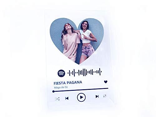 Oedim Metacrilato Spotify Música Corazón Personalizado | Fabricado en Metacrilato 4mm | 19,5 x 28,2cm | Efecto Espejo | con Código Spotify y con Apoyo
