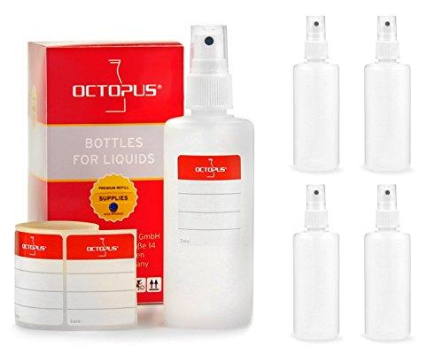 Octopus 5X 100 ml Sprühflaschen mit Fingerzerstäuber, Plastikflaschen mit Pumpsprüher, Kunststoffflaschen aus HDPE mit Zerstäuber, inkl. Beschriftungsetiketten