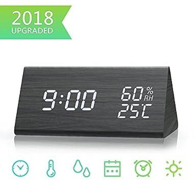 2013Newestseller Wood Alarm Clock, Digital Alarm Clock Temperature Date LED Display Wood Grain Clock (Black)