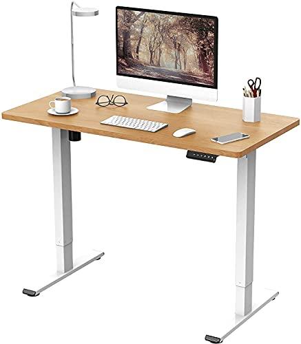 FLEXISPOT EF1 Escritorio de Pie con Tablero (Blanco+Maple, 100X60cm), Standing Desk, Escritorio Eléctrico Soporte Ajustable en Altura con Tecla de 4 Opciones Memoria Automática Inteligente
