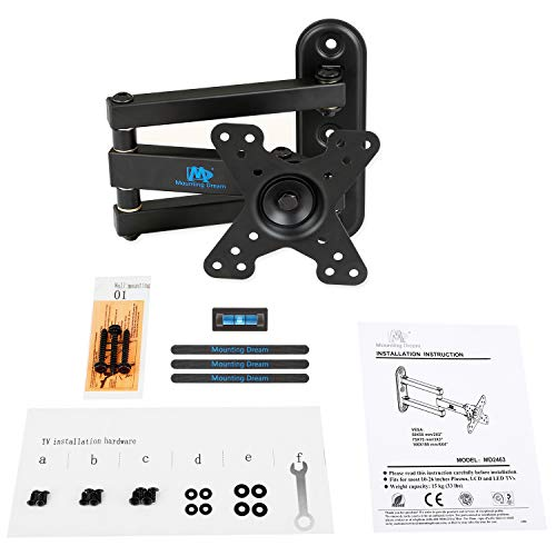 Mounting Dream Full Motion Monitor Wall Mount TV Bracket for 10-26 Inch LED, LCD Flat Screen TV and Monitor, TV Mount with Swivel Articulating Arm, Monitor Mount Up to VESA 100x100mm and 33LBS MD2463 Photo #2