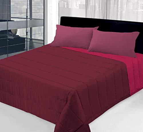 Colcha de 100 g de doble cara lisa para cama individual – 1 plaza y media – matrimonio (rojo/burdeos, una plaza y media)