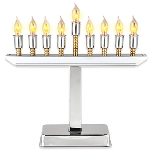 Aviv Modern Electric Hanukkah Menorah with Gold Accents, Highly Polished Chrome Plated, Includes Flickering Bulbs