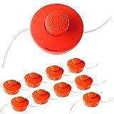 Nemaxx 9X FS1 Cabezal de Doble Hilo semiautomático - Cabezal de Corte de siega -Accesorios de Corte - Hilo de Nylon - Carrete para desbrozadora Gasolina - Naranja