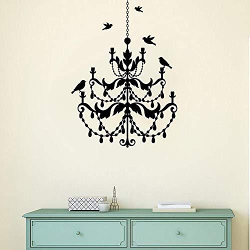LovelyHomeWJ Kronleuchter Lampe Wandtattoo Vögel herumfliegen Vinyl Wandaufkleber Modernes Design Kronleuchter Wandbild Home Schlafzimmer Dekor 57x79cm