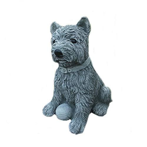 Steinfigur Westie Hund Terrier Yorki Cairn mit Ball Garten Deko Tierfigur Frostsicher Steinguss