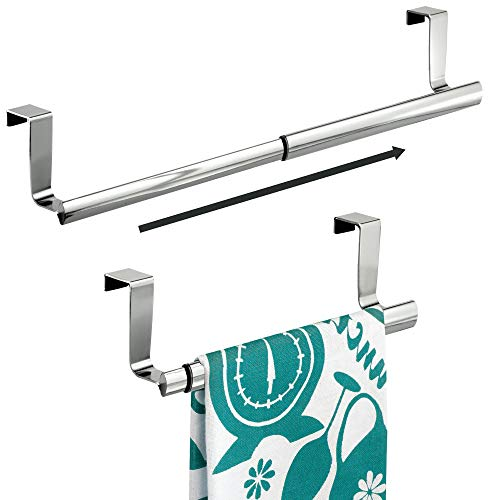 "mDesign Kitchen Over-the-Cabinet Expandable Towel Holders for Hand Towels, Dish Towels - Pack of 2, 9"", Chrome"