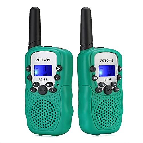 Retevis RT388 Walkie Talkie para Niños, Walkie Talkie Niños, 8 Canales PMR446 Linterna VOX, Regalos de Juguetes para Niños, para Cámping, Gardín u Otras Actividades al Aire Libre (2 Piezas, Verde)