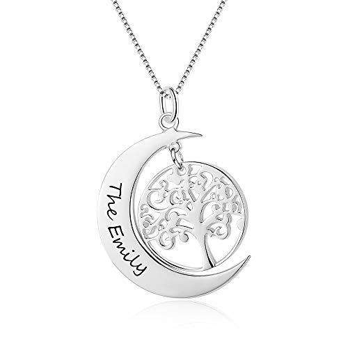 XiXi Personalizado Collar Grabado Colgante con árbol de la Vida Collar con Nombre Mujer Plata Regalo para Madre Abuela en Cumpleaños día de la Madre