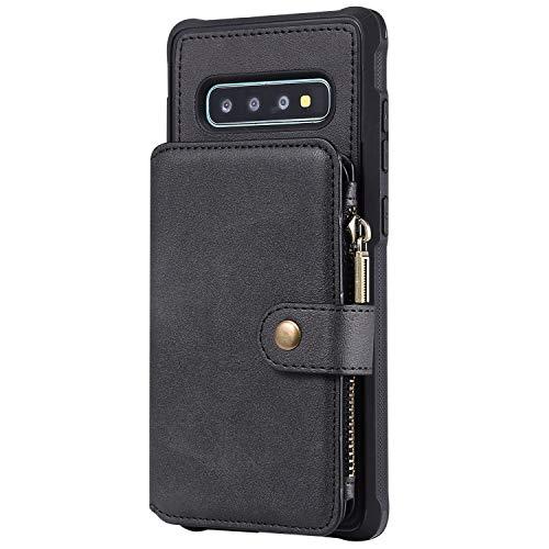 Boloker für Samsung Galaxy S10 Plus Hülle + Displayschutz, Reißverschluss Flip PU Leder Schutzhülle Stand Handy Tasche Brieftasche Unterstützung Wallet Case Cover [Magnetisch] (Schwarz)