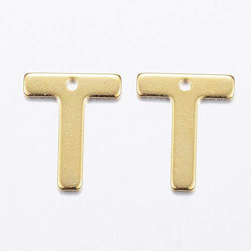 Beadthoven - 100 colgantes de acero inoxidable 304 con letra T de metal y inicial para pulsera de amistad, collar y gargantilla (dorado)
