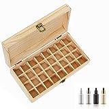 Boîte d'Huile Essentielle Organisateur Rangement en Bois pour 32 Bouteilles Aromathèque Boîte de Stockage avec Boucle pour Voyage et Présentation